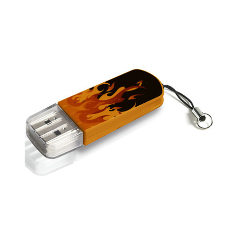Флешка USB VERBATIM Mini Elements Edition 16ГБ, USB2.0, черный и рисунок [49406]