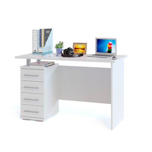 Стол компьютерный СОКОЛ КСТ-106.1, ЛДСП, белый