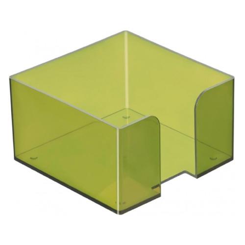 Подставка Стамм ПЛ50 для бумажного блока 90x90x50мм зеленый/тонированный пластик подставка для бумажного блока стамм пластиковая 90х90х90 мм прозрачная пл41