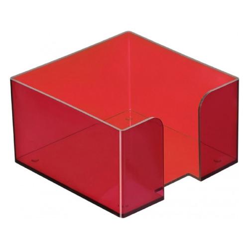 Подставка Стамм ПЛ51 для бумажного блока 90x90x50мм красный/тонированный пластик подставка для бумажного блока стамм пластиковая 90х90х90 мм прозрачная пл41