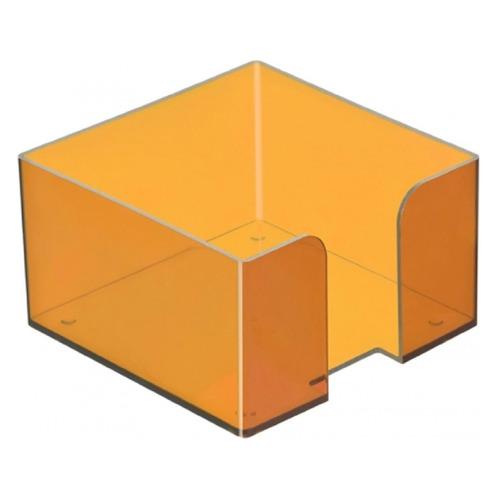 Подставка Стамм ПЛ53 для бумажного блока 90x90x50мм оранжевый/тонированный пластик подставка для бумажного блока стамм пластиковая 90х90х90 мм прозрачная пл41