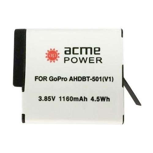 Аккумулятор ACMEPOWER AP-AHDBT-501, 3.85В, 1160мAч, для экшн-камер GoPro Hero 5/6 аккумулятор для фотоаппарата acmepower ap bg1