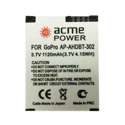 Аккумулятор ACMEPOWER AP-AHDBT-302, 3.7В, 1120мAч, для экшн-камер GoPro Hero3/3+ fat cat professional high transmittance waterproof replacement lens kit for gopro hero4 hero3