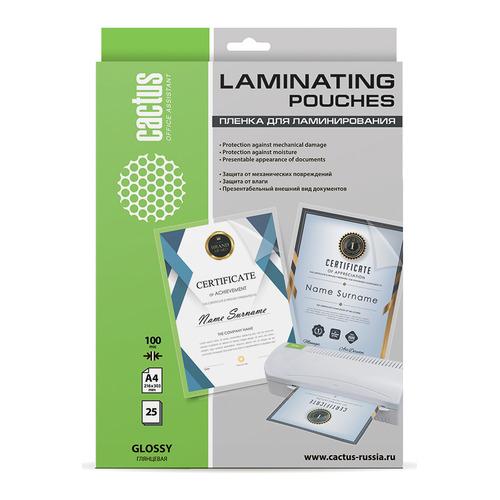 Пленка для ламинирования CACTUS CS-LPGA410025, 100мкм, 216х303 мм, 25шт., глянцевая, A4 CS-LPGA410025 по цене 240