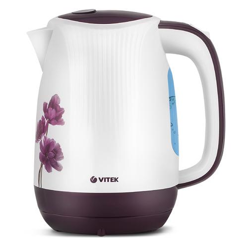 Чайник электрический VITEK VT-7061, 2200Вт, белый с узором и фиолетовый чайник электрический vitek vt 1164 2200вт серый
