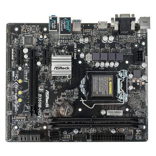 Материнская плата ASROCK B360M-HDV, LGA 1151v2, Intel B360, mATX, Ret цена 2017