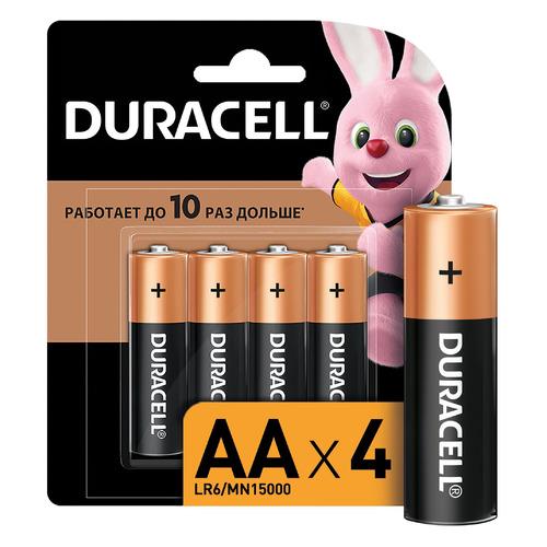 AA Батарейка DURACELL Basic CN LR6-4BL MN1500, 4 шт. батарейка aa duracell lr6 mn1500 2 штуки