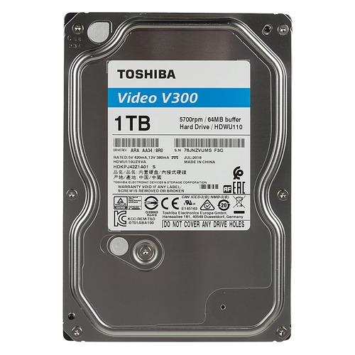 Жесткий диск TOSHIBA V300 HDWU110UZSVA, 1ТБ, HDD, SATA III, 3.5 жесткий диск 3 5 2 tb 5700rpm 64mb cache toshiba video streaming v300 sata iii 6 gb s hdwu120uzsva