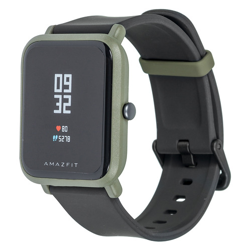 Смарт-часы XIAOMI Amazfit Bip, 1.28, зеленый / серый [uyg4023rt] умные часы xiaomi amazfit watch band black pace smartwatch black