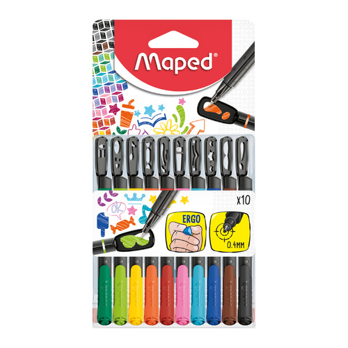 Набор ручек капиллярных Maped GRAPH PEP`S MANIA (749450) 0.4мм 10цв. +трафарет цена