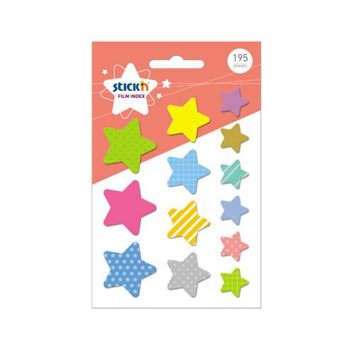 Закладки самокл. индексы пластиковые Stick`n 21763 17х26х32мм 13цв.в упак. 15лист звезды 12 шт./кор. цена и фото