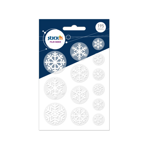 Закладки самокл. индексы пластиковые Stick`n 21764 17х26х32мм 13цв.в упак. 15лист снежинки 12 шт./кор. цена и фото