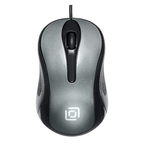 Мышь OKLICK 385M, оптическая, проводная, USB, черный и серый [385m grey] мышь oklick 185m оптическая проводная usb черный [m201]