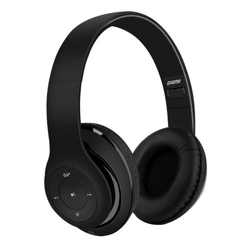 цена на Наушники с микрофоном DIGMA BT-14, Bluetooth, накладные, черный [l150bt]