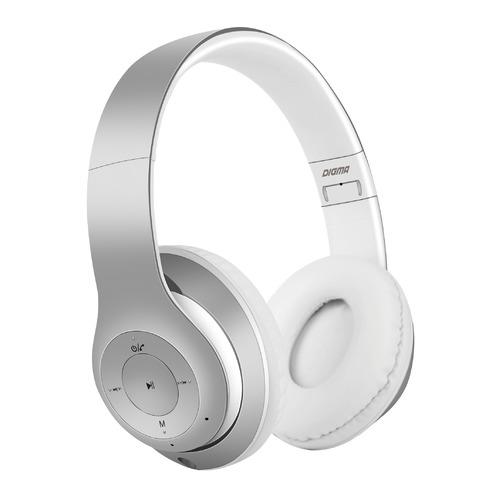 цена на Наушники с микрофоном DIGMA BT-14, Bluetooth, накладные, серебристый матовый [l150bt]
