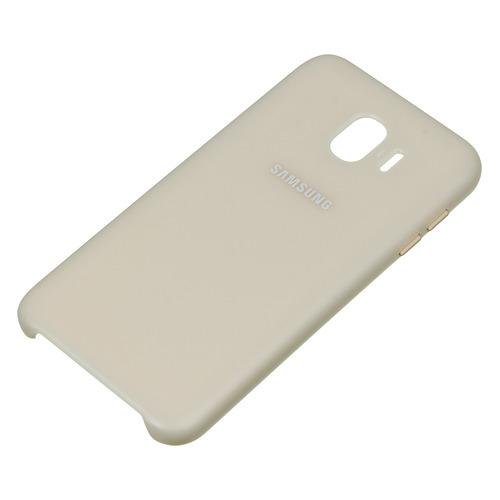 Чехол (клип-кейс) SAMSUNG Dual Layer Cover, для Samsung Galaxy J4 (2018), золотистый [ef-pj400cfegru] чехол накладка для samsung galaxy a6 2018 samsung dual layer cover gold клип кейс полиуретан поликарбонат