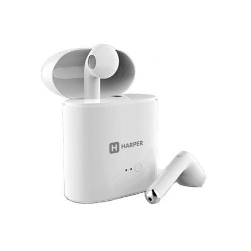 Наушники с микрофоном HARPER HB-508, Bluetooth, вкладыши, белый
