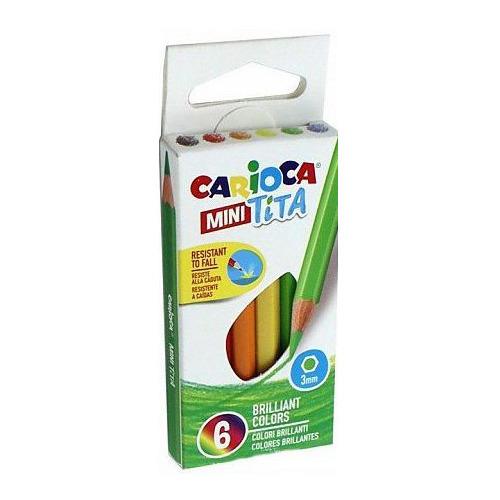 Упаковка карандашей цветных CARIOCA MINI TITA 42322, шестигранные, пластик, 3мм, 6 цв., коробка картонная 48 шт./кор. MINI TITA по цене 3 360