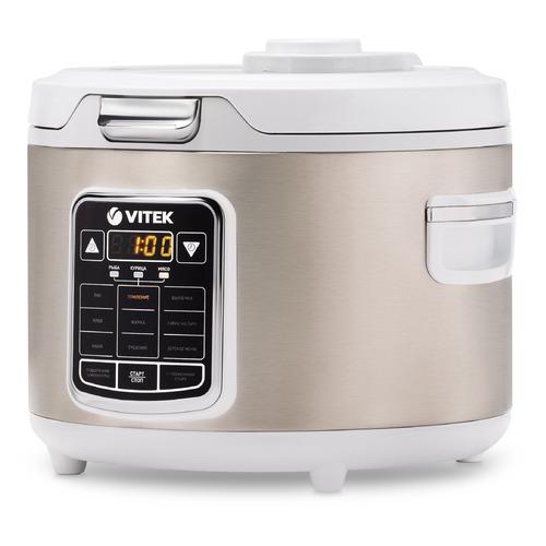 цена на Мультиварка VITEK VT-4281 W, 800Вт, серебристый/белый [4281-vt]