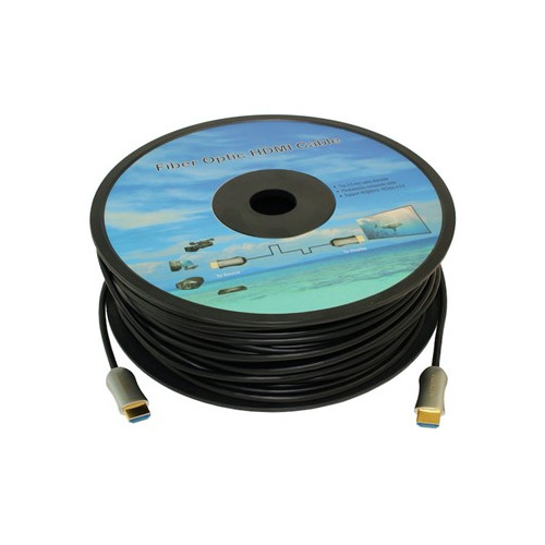Кабель аудио-видео Fiber Optic, HDMI (m) - HDMI (m) , ver 2.0, 25м, GOLD черный, катушка fy3w 750 001 rgb colorful led fiber optic bundle 50pcs 2m curtain cable with outer transparent pvc jacket