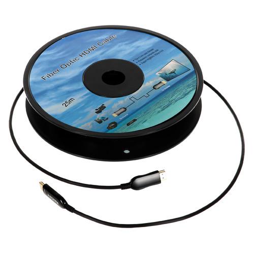 Фото - Кабель аудио-видео Fiber Optic, HDMI (m) - HDMI (m) , ver 2.0, 25м, GOLD черный fiber one