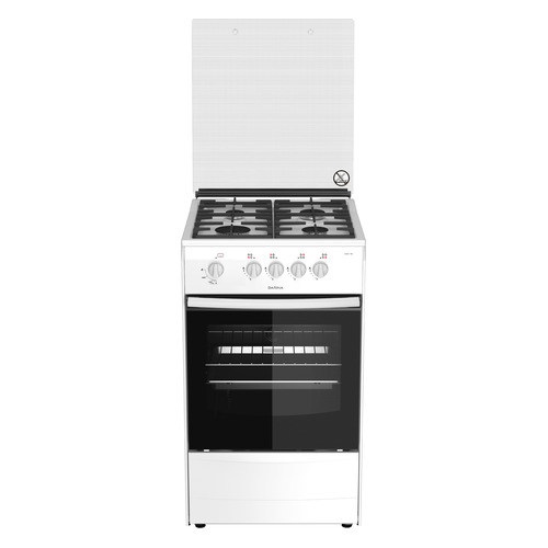 цена на Газовая плита DARINA 1B1 GM 341 002 W, газовая духовка, стеклянная крышка, белый [000053484]