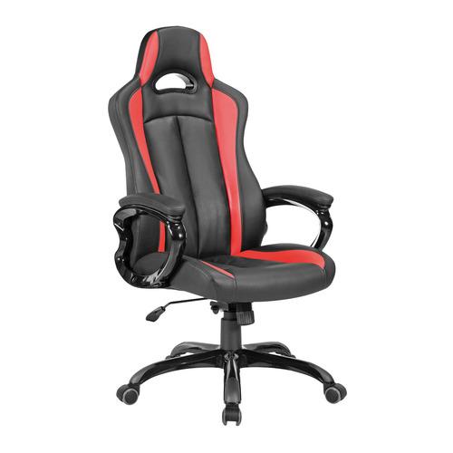 цена на Кресло игровое БЮРОКРАТ CH-827, на колесиках, искусственная кожа, черно-красный [ch-827/bl+red]