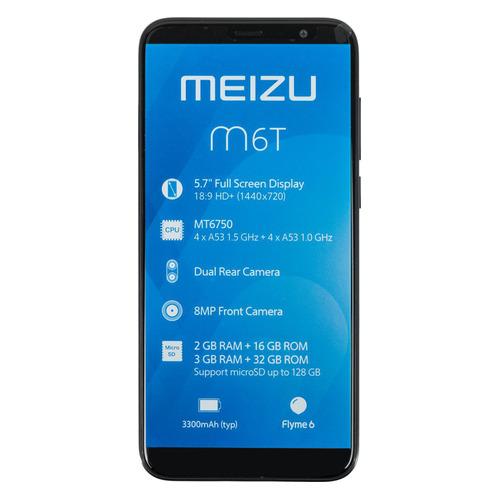 Смартфон MEIZU M6T 16Gb, черный смартфон meizu m5с 16gb gold