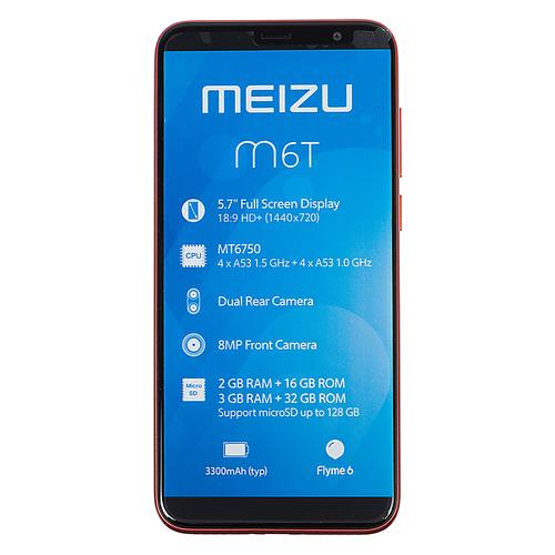 Смартфон MEIZU M6T 16Gb, красный смартфон meizu u10 16gb silver