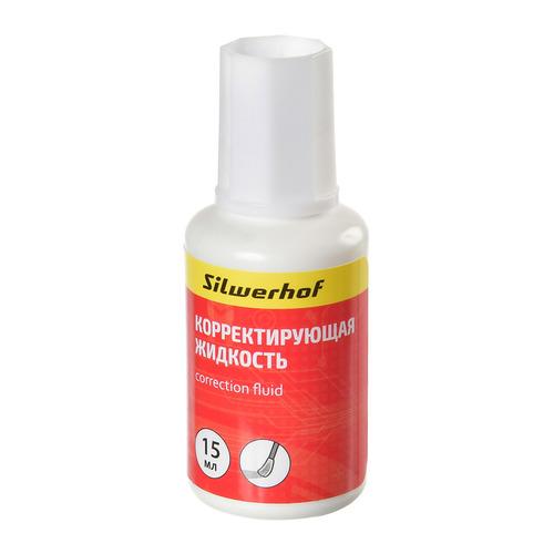 Жидкость коррект. Silwerhof 443020 на основе растворителя кисточка белый 15мл 12 шт./кор. цена 2017