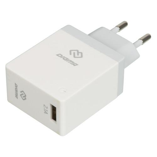 Сетевое зарядное устройство DIGMA DGWC-1U-2.1A-WG, USB, 2.1A, белый сетевое зарядное устройство digma dgwc 1u 2 1a bk 2 1a черный