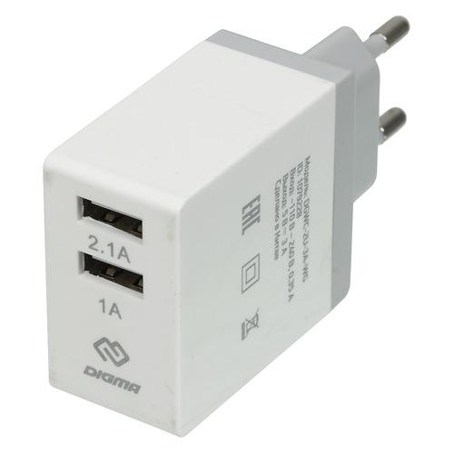 Фото - Сетевое зарядное устройство DIGMA DGWC-2U-3A-WG, 2xUSB, 2.1A, белый rt 2xusb