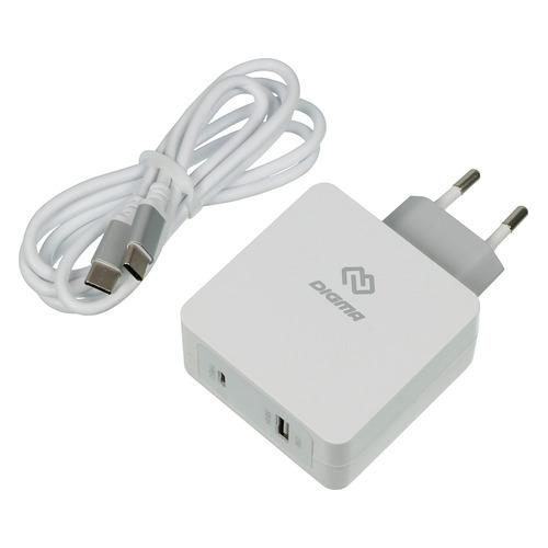 Фото - Сетевое зарядное устройство DIGMA DGPD-45W-WG, USB + USB type-C, 3A, белый сетевое зарядное устройство apple 30w usb c power adapter my1w2zm a