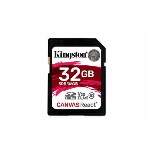 Карта памяти SDHC UHS-I U3 KINGSTON Canvas React 32 ГБ, 100 МБ/с, 100X, Class 10, SDR/32GB, 1 шт.