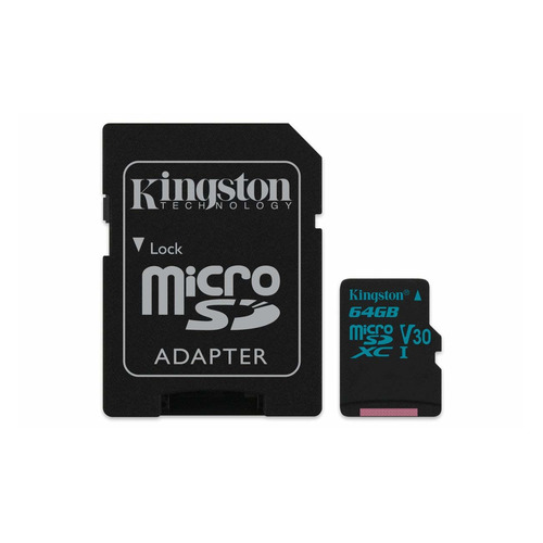 Карта памяти microSDXC UHS-I U3 KINGSTON Canvas Go 64 ГБ, 90 МБ/с, Class 10, SDCG2/64GB, 1 шт., переходник SD карта памяти transflash 64гб microsdxc class 10 uhs i u3 90r 45w kingston canvas go