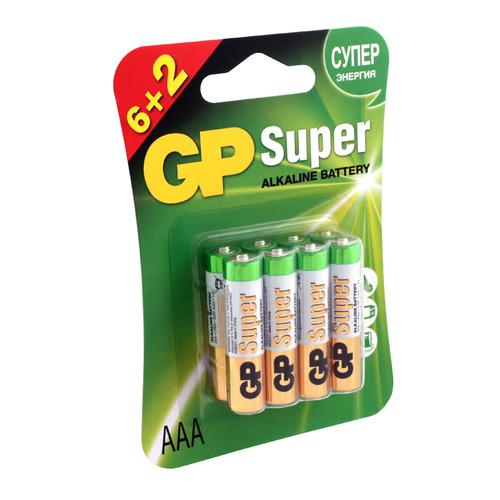 AAA Батарейка GP Super Alkaline 24A LR03, 8 шт. цена