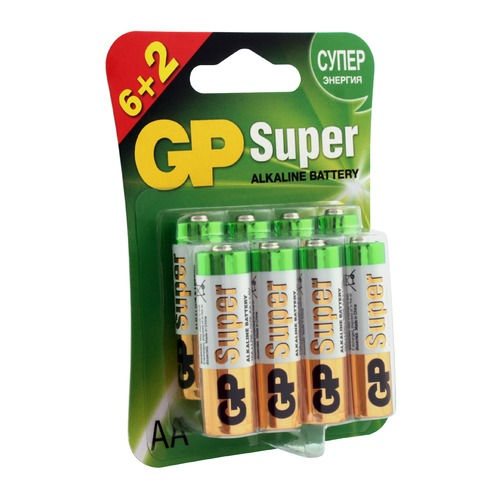 AA Батарейка GP Super Alkaline 15A LR6, 8 шт. aa батарейка gp super alkaline 15a lr6 2 шт