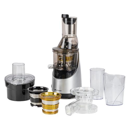 Соковыжималка KITFORT КТ-1105-2, шнековая, серебристый и черный соковыжималка kitfort кт 1106 2 шнековая серебристый и черный