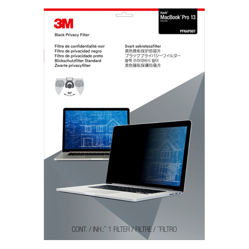 """Экран защиты информации 3M PFNAP007 для ноутбука Apple MacBook Pro 13.3"""", 16:10, черный [7100207857]"""