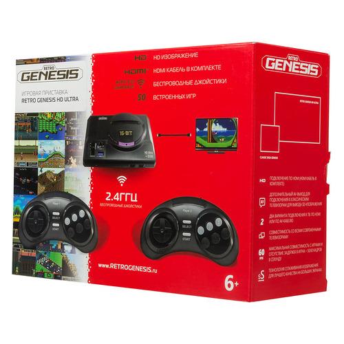 Фото - Игровая консоль RETRO GENESIS HD Ultra 50 игр, два беспроводных джойстика, черный игровая консоль retro genesis modern 170 игр два джойстика черный