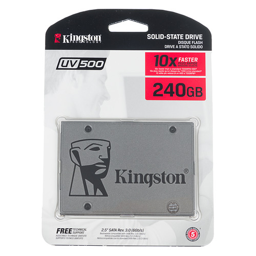 SSD накопитель KINGSTON UV500 SUV500/240G 240Гб, 2.5, SATA III kingston kc1000 960gb ssd накопитель