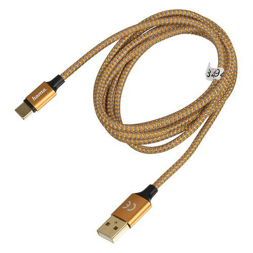 Кабель HAMA 00178297, USB Type-C (m), USB A(m), 1.5м, оранжевый