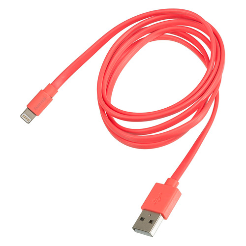 Кабель HAMA Flat, Lightning (m), USB A(m), 1.2м, MFI, розовый [00173645] кабель hama metal lightning m usb a m 1 5м mfi черный [00173626]