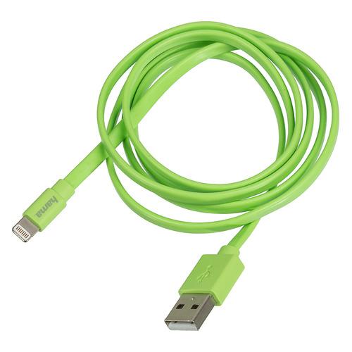 Кабель HAMA Flat, Lightning (m), USB A(m), 1.2м, MFI, зеленый [00173647] кабель hama metal lightning m usb a m 1 5м mfi черный [00173626]