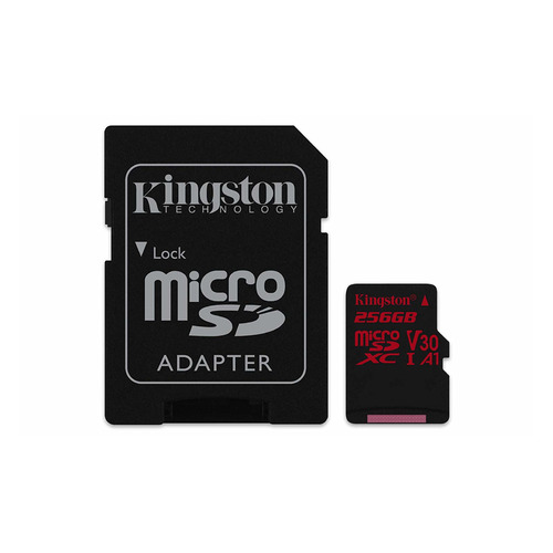 Фото - Карта памяти microSDXC UHS-I U3 KINGSTON Canvas React 256 ГБ, 100 МБ/с, Class 10, SDCR/256GB, 1 шт., переходник SD карта памяти 64gb kingston microsdxc u3 uhs i v30 a1 canvas react sdcr 64gb с переходником под sd