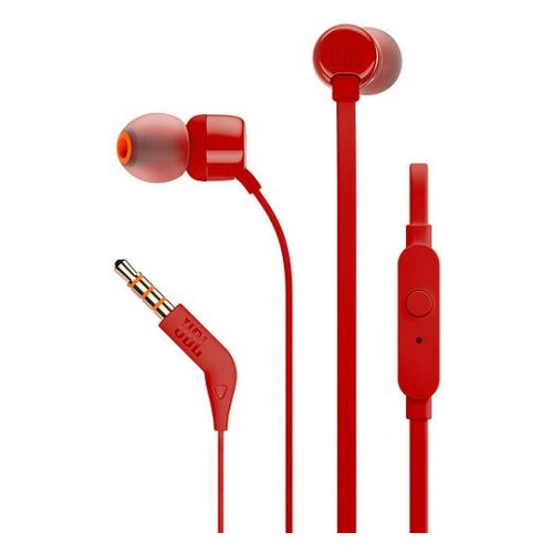 Наушники с микрофоном JBL Т110, 3.5 мм, вкладыши, красный [jblt110red] наушники philips she3590rd 10 вкладыши красный проводные