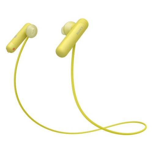 Наушники с микрофоном SONY WI-SP500, Bluetooth, вкладыши, желтый [wisp500y.e]  - купить со скидкой