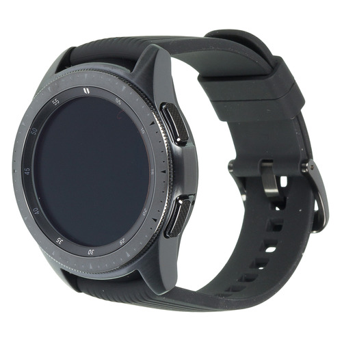 Смарт-часы SAMSUNG Galaxy Watch 42мм, 1.2, черный / черный [sm-r810nzkaser] смарт часы samsung galaxy fit e 0 74 pmoled черный sm r375nzkaser
