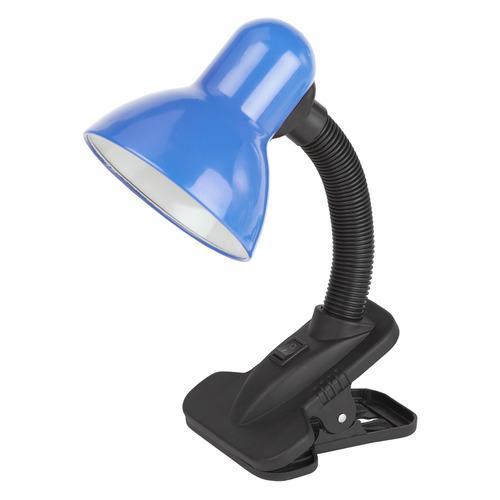 Светильник настольный ЭРА N-102-E27-40W-BU на прищепке, 40Вт, синий [c0041426] светильник настольный эра n 102 e27 40w bk черный
