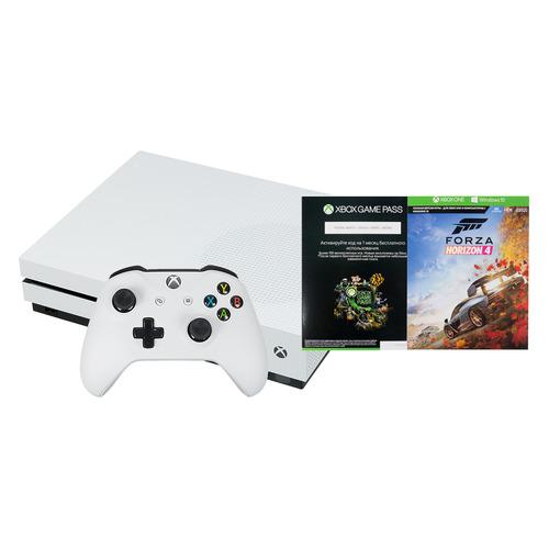 лучшая цена Игровая консоль MICROSOFT Xbox One S с 1 ТБ памяти, игрой Forza Horizon 4, Абонемент 1 месяц Game Pass и 14 дней пробной подписки Xbox Live Gold., 234-00562, белый